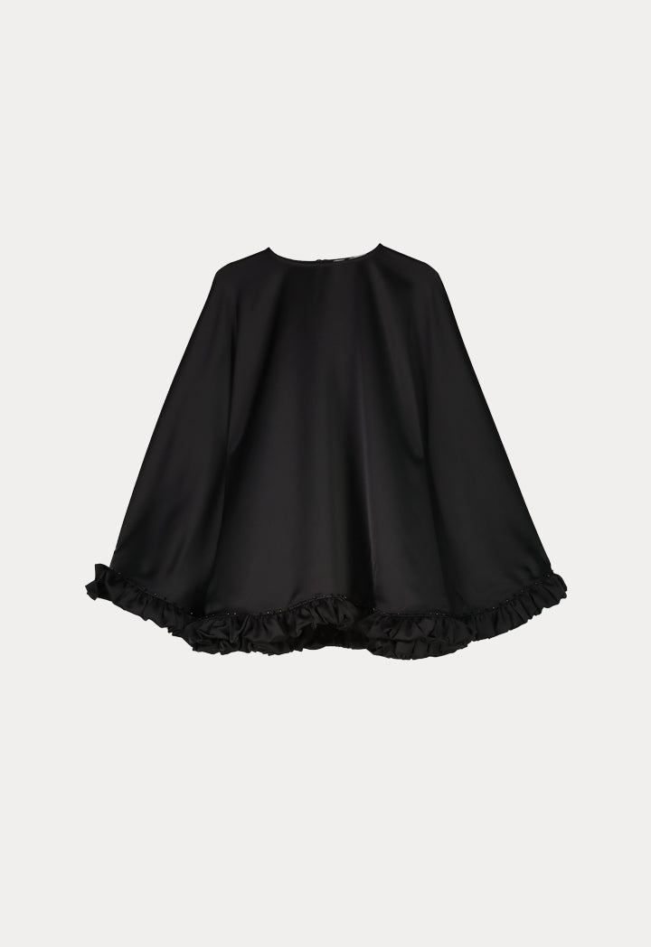 NIHAN PEKER CAPE-EFFECT SULTAN TOP BLACK