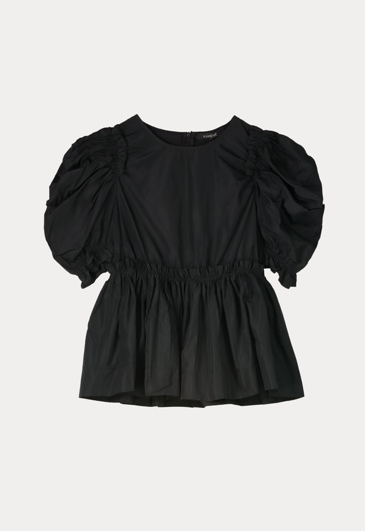 Kameya Puff Short Sleeve Frill Waist Blouse Black