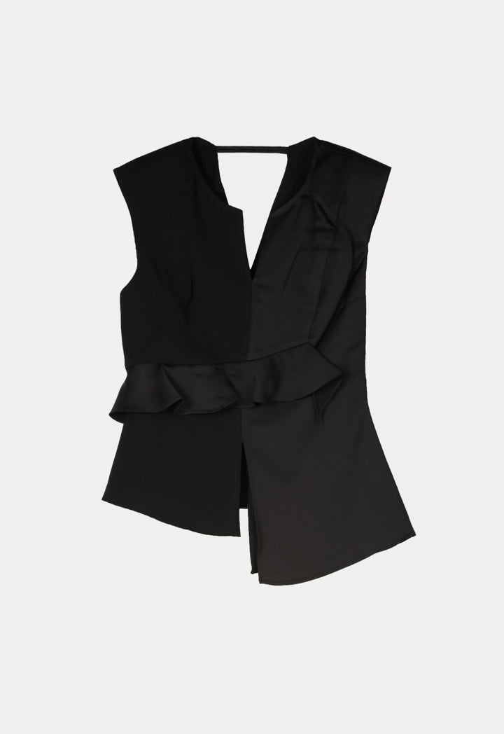 Kameya Ruffle Waist Sleeveless Asymmetrical Blouse Black