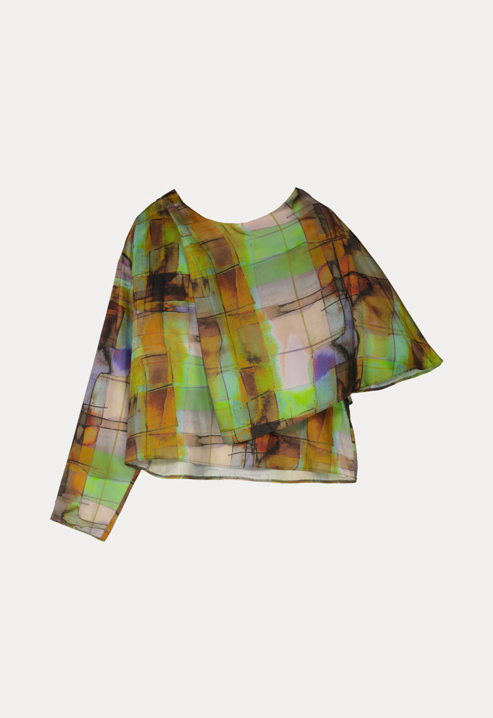 Kameya Printed Asymmetrical Sleeve Relaxed Fit Blouse Green
