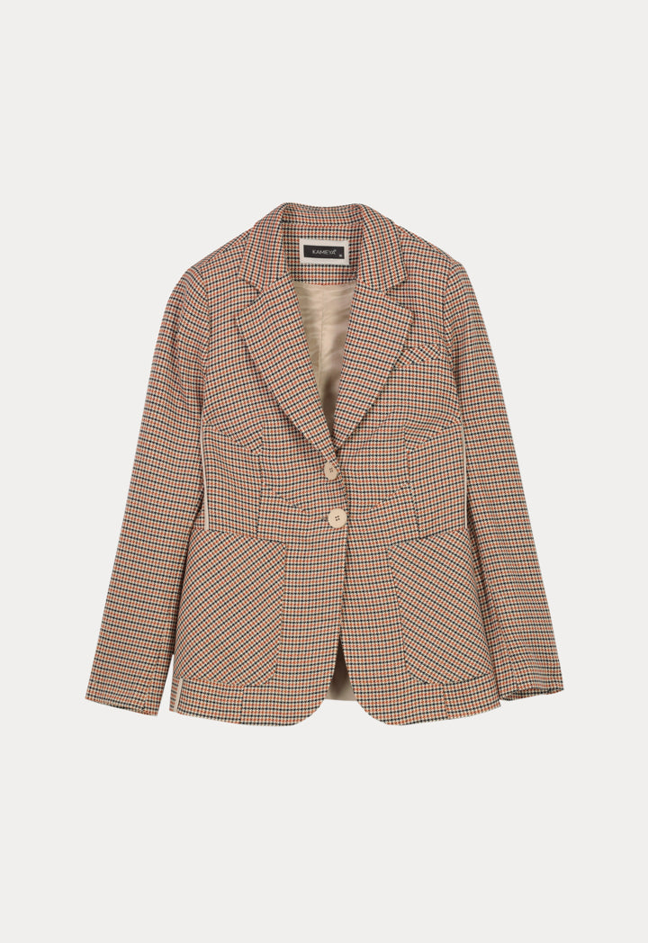 Kameya Checkered Notched Collar Single Breasted Jacket Beige