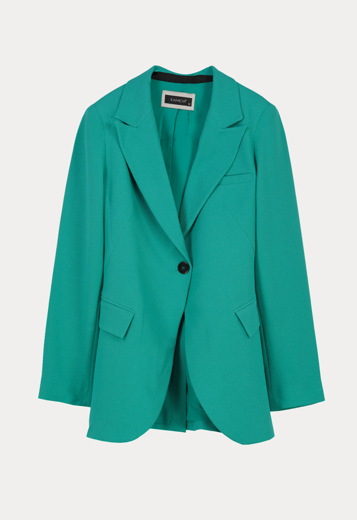 Kameya Notched Collar Single Breasted Back String Detail Blazer Turquoise