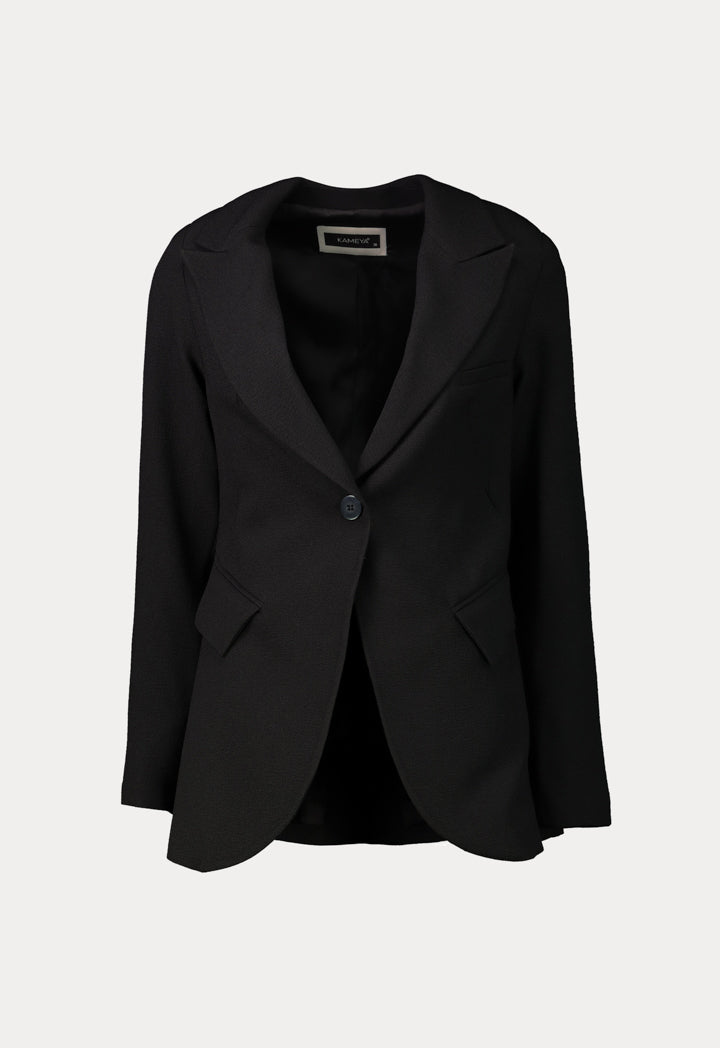 Kameya Notched Collar Single Breasted Back String Detail Blazer Black