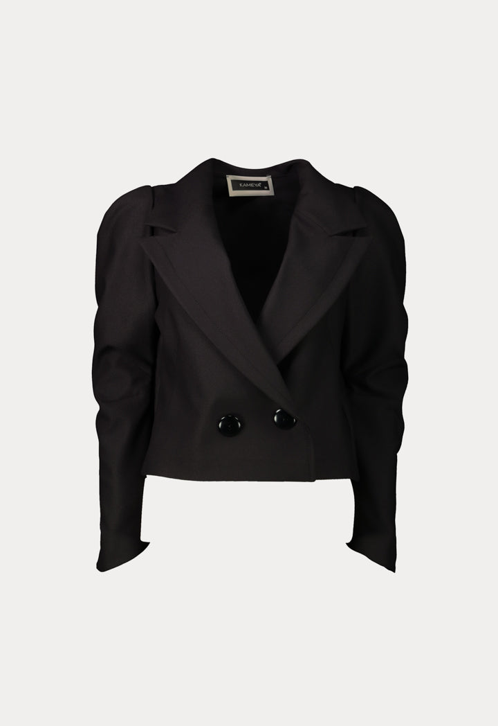 Kameya Notched Collar Double Breasted Blazer Black