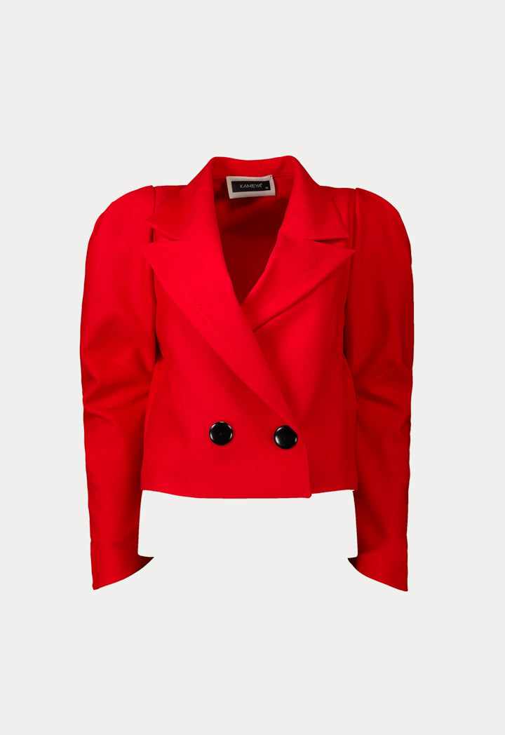 Kameya Notched Collar Double Breasted Blazer Red