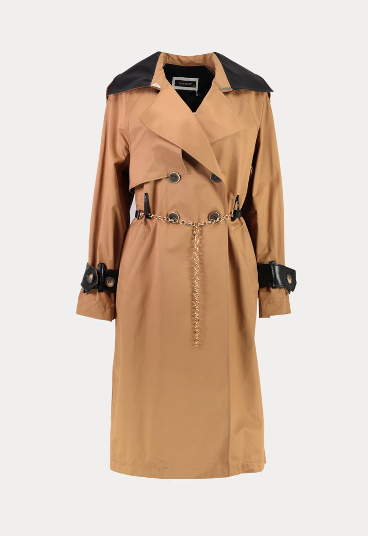Kameya Notched Collar Double Breasted Belted Trench Coat Beige