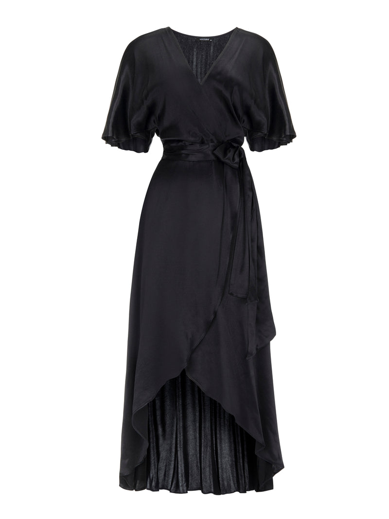 Nocturne Long Solid V-Neck Dress