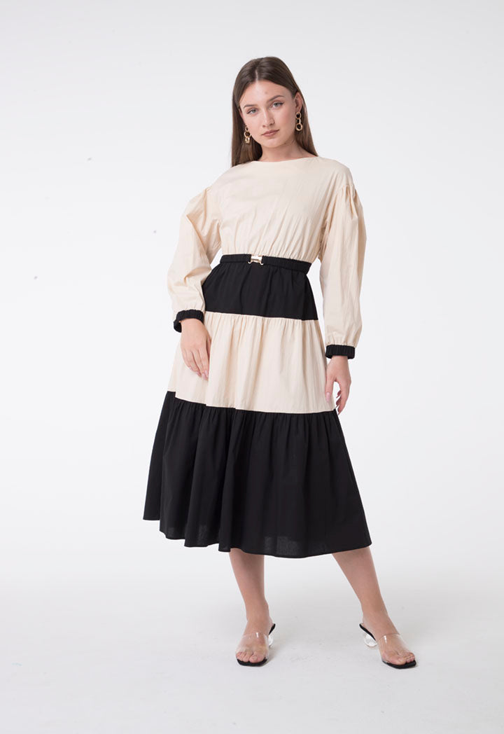 Nocturne Long Sleeve Belted Tiered A-Line Midi Dress Beige
