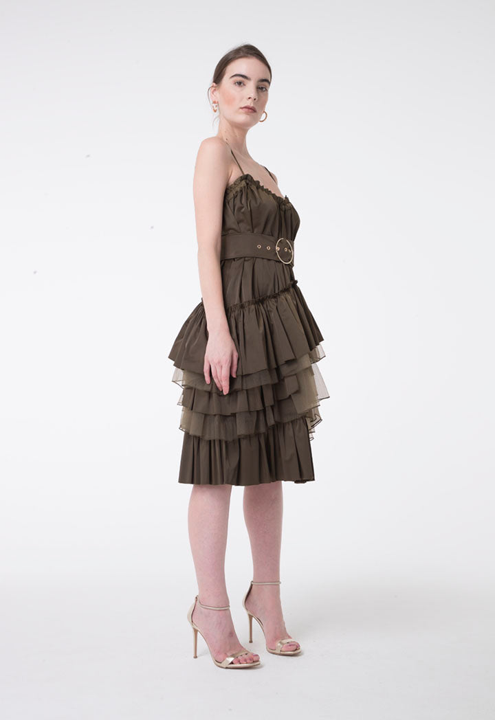 Nocturne Spaghetti Strap Belted Frill Detail Pleated Layered A-Line Short Dress Khaki