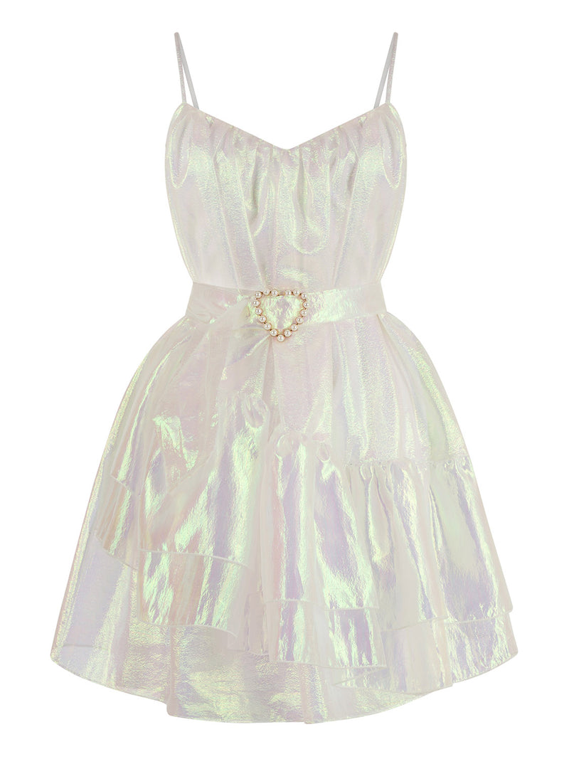 NOCTURNE Hologram Effect Mini Dress WHITE