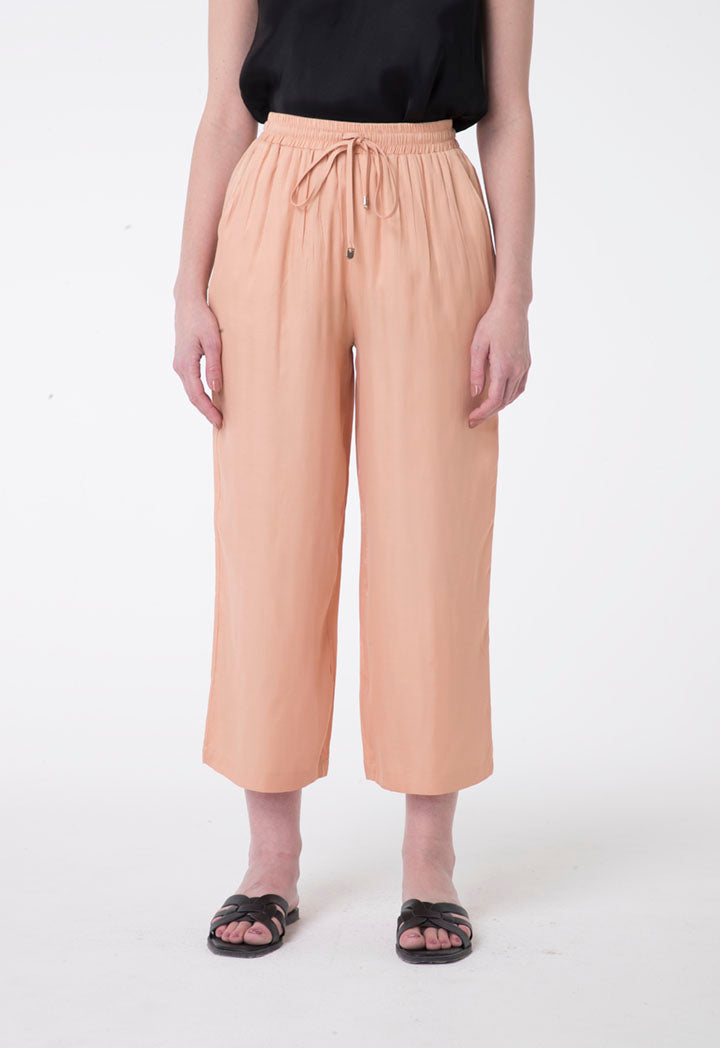 Nocturne Elastic Drawstring Waist Cropped Trouser Blush