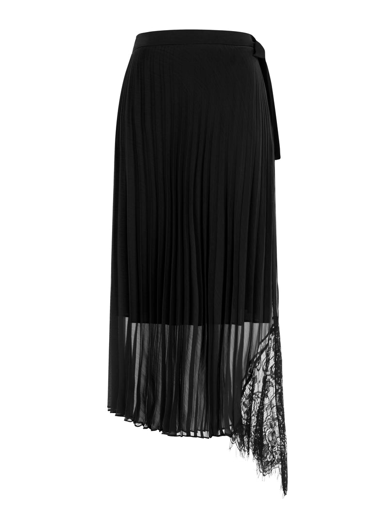 Nocturne Lace Cut Electric Pleated Skirt