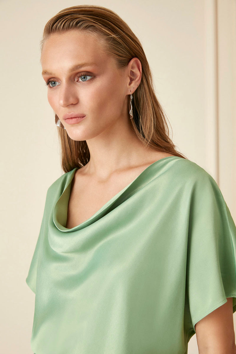 Nocturne Draped Collar Blouse
