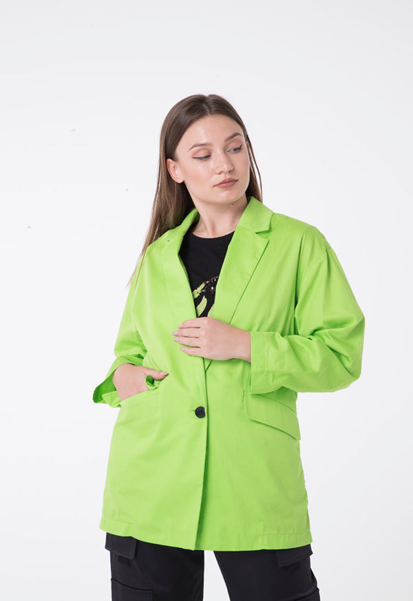 Nocturne Notched Collar Single Breasted Double Pocket Blazer Green