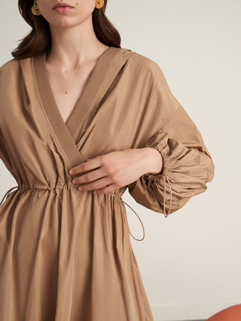 Nocturne Balloon Sleeve Double Breasted Hoodie Dress Beige