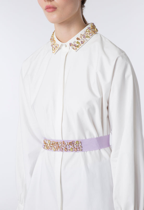 Choice Studded Long Length Shirt Off White