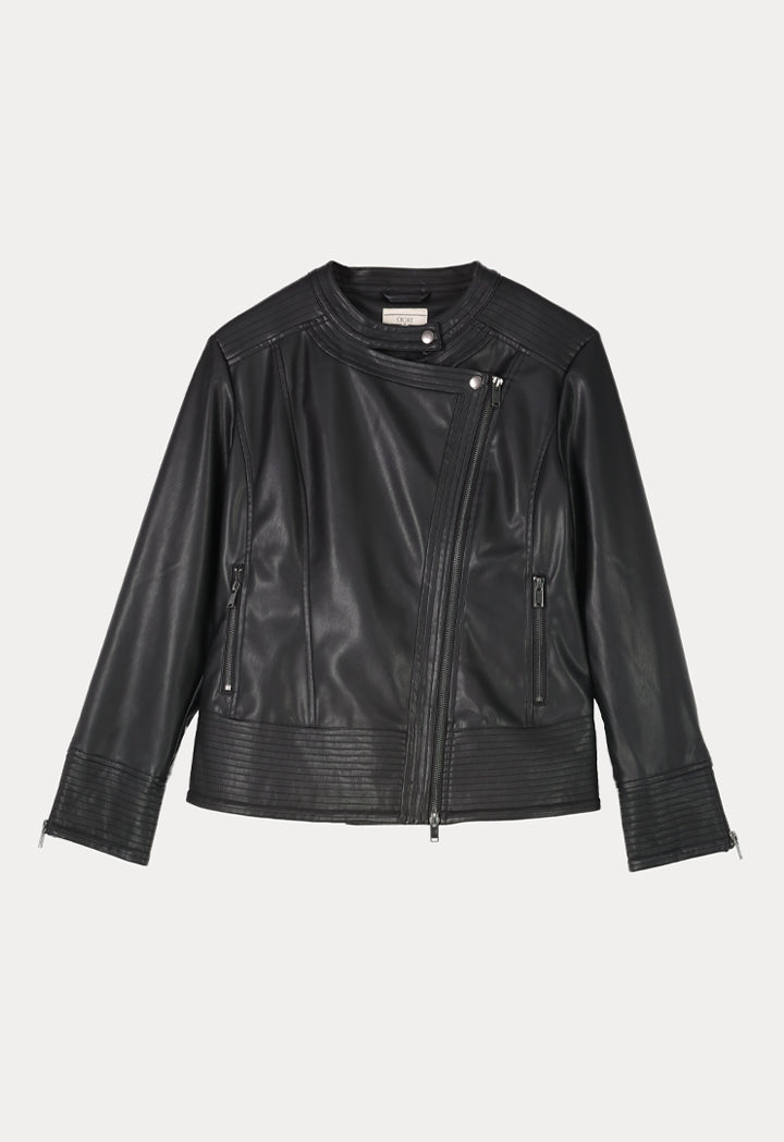 Choice Faux Leather Motorcycle Jacket Black