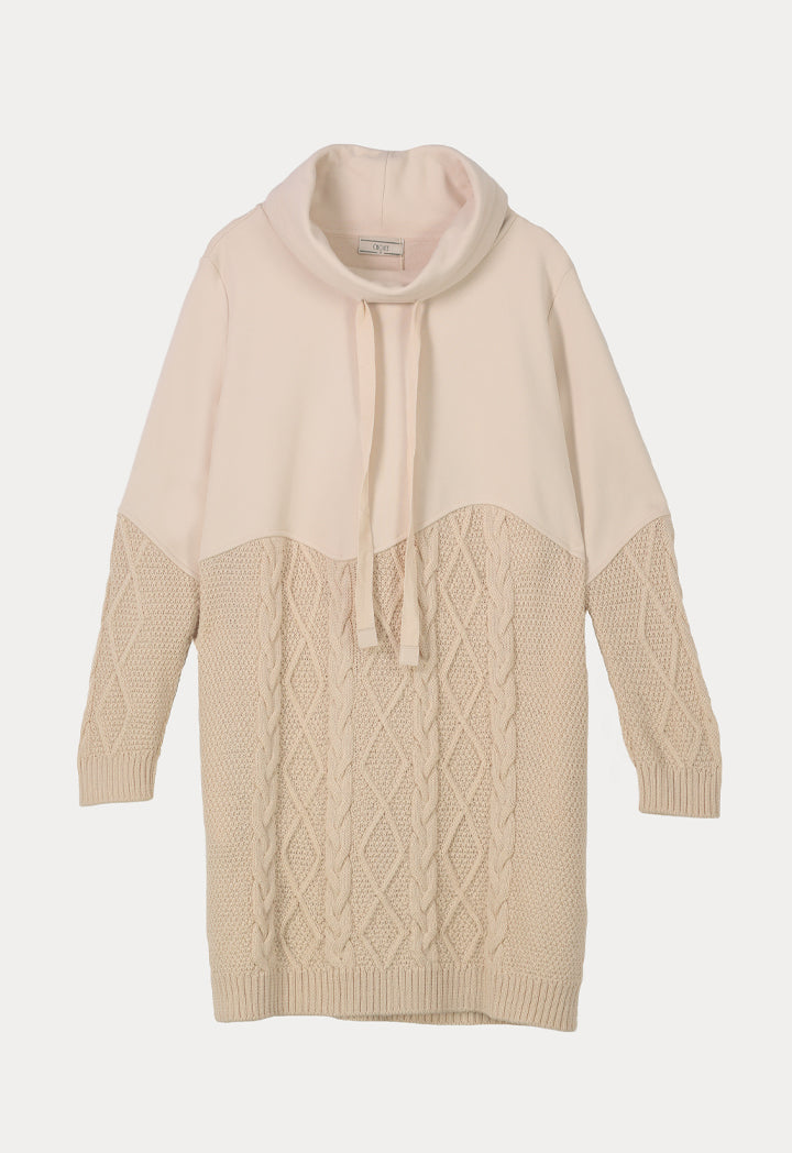 Choice Drawstring Cowl Neck Knitted Sweater  Beige Melange