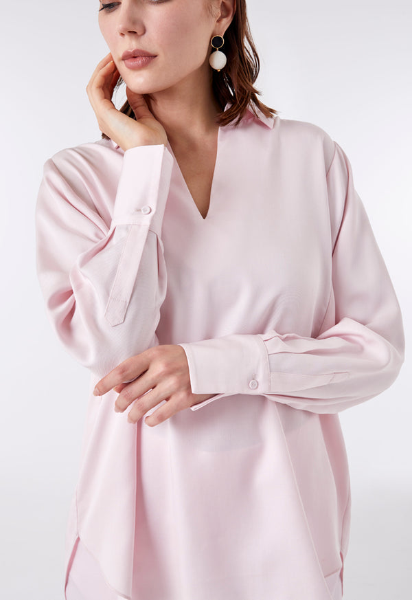 Choice Rounded High Low V Neck Blouse Pink - Wardrobe Fashion