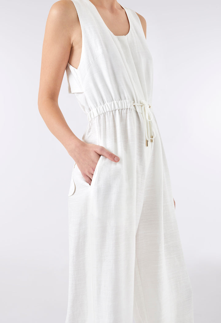 Choice Drawstring Waist Sleeveless Jumpsuit White - Wardrobe Fashion