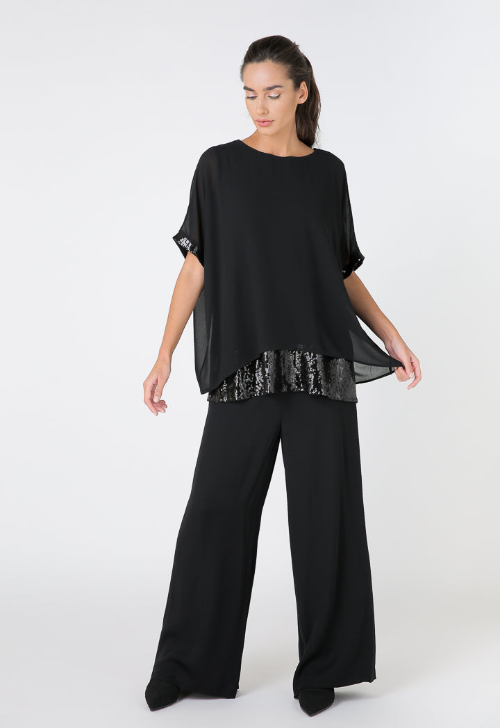 Choice Crepe Georgette Layered Sequins Blouse Black