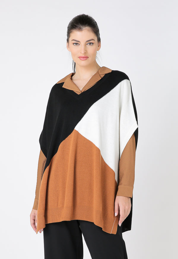 Choice Fashion Knitted Color Block Poncho Multi Color
