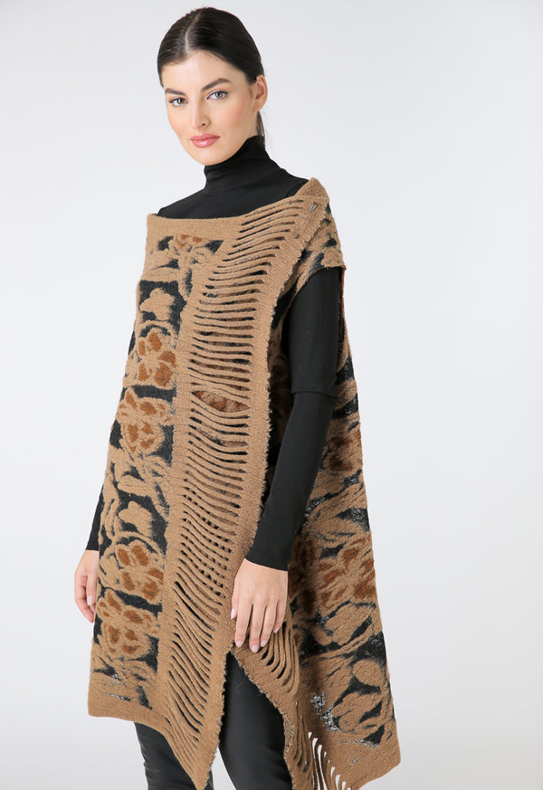 Choice Jacquard Sleeveless Outerwear With Pin Closure Camel
