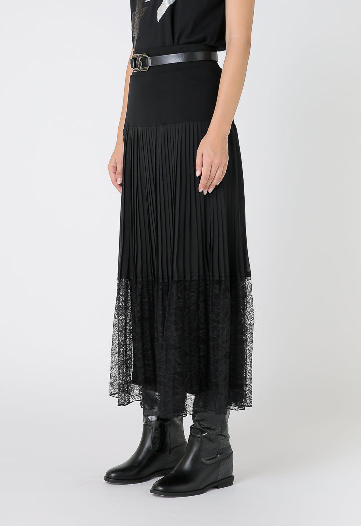 Choice Knitted Chiffon Pleated Long Skirt Black