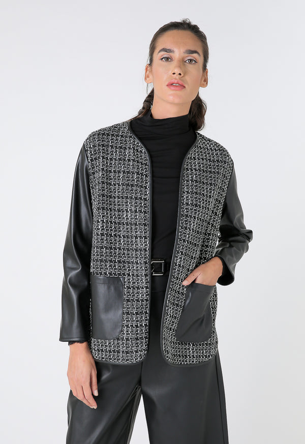 Choice Houndstooth Jacket Faux Leather Sleeves Black