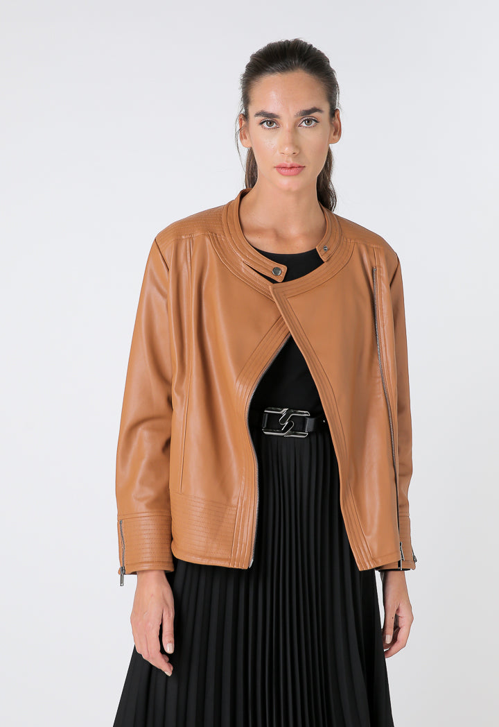 Choice Faux Leather Motorcycle Jacket Terracotta