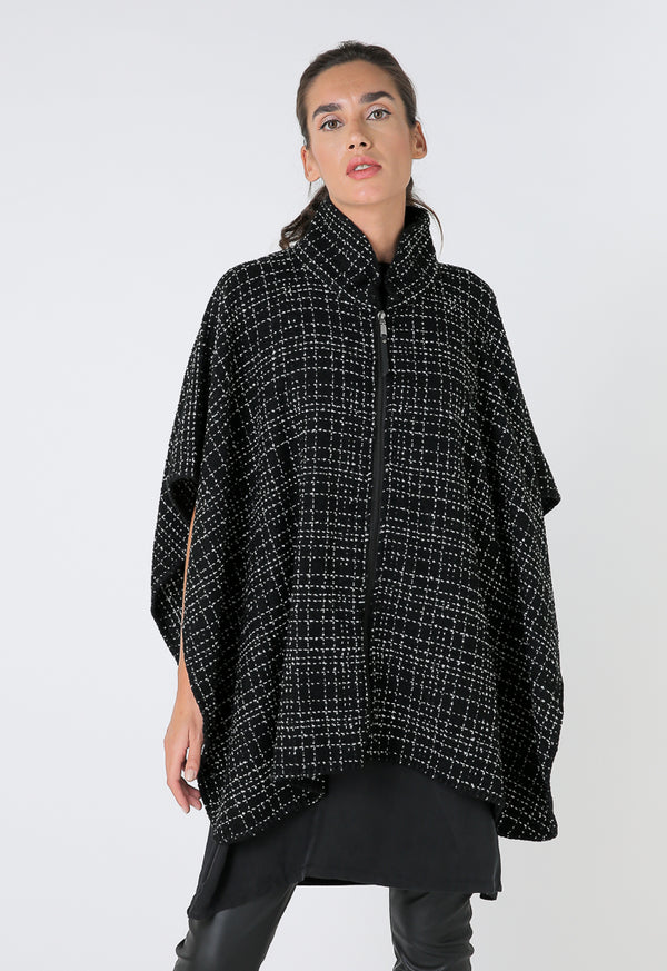 Choice Mini Houndstooth Collared Poncho Black