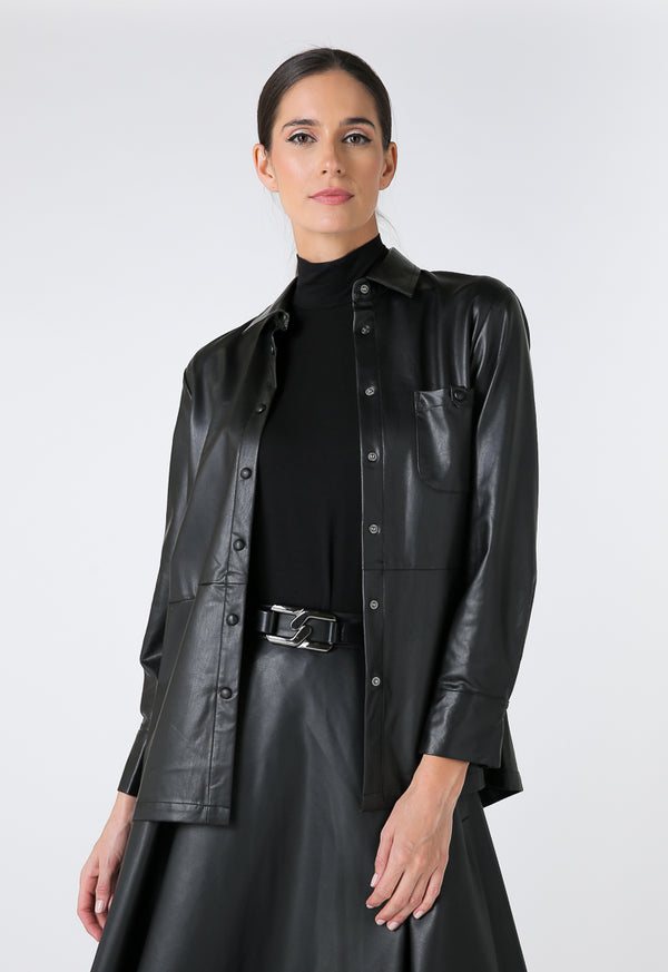 Choice Faux Leather Long Sleeves Shirt Black