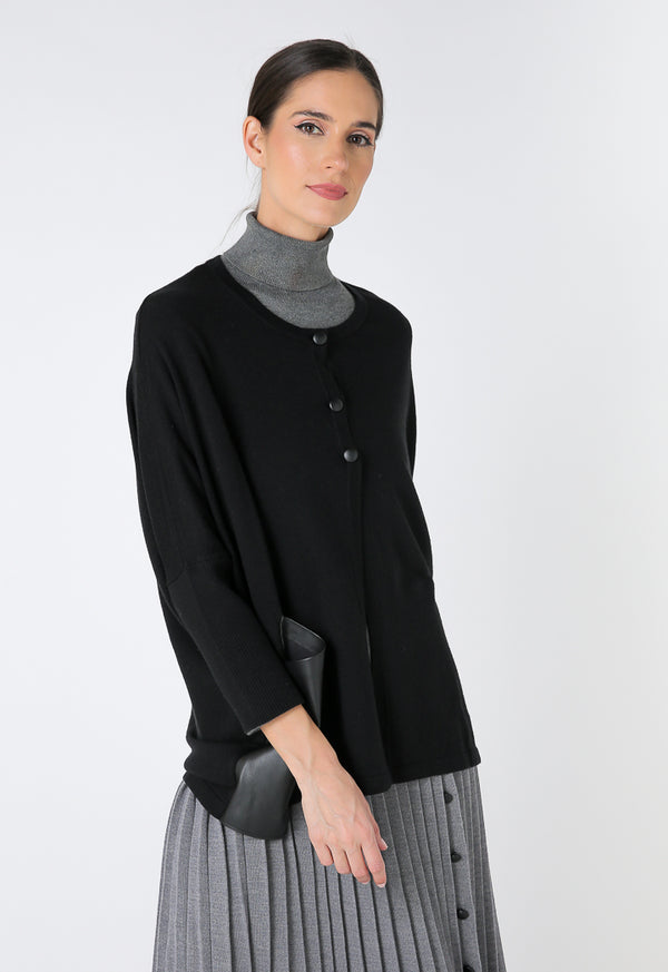 Choice Mixed Knit Faux Leather Poncho Black