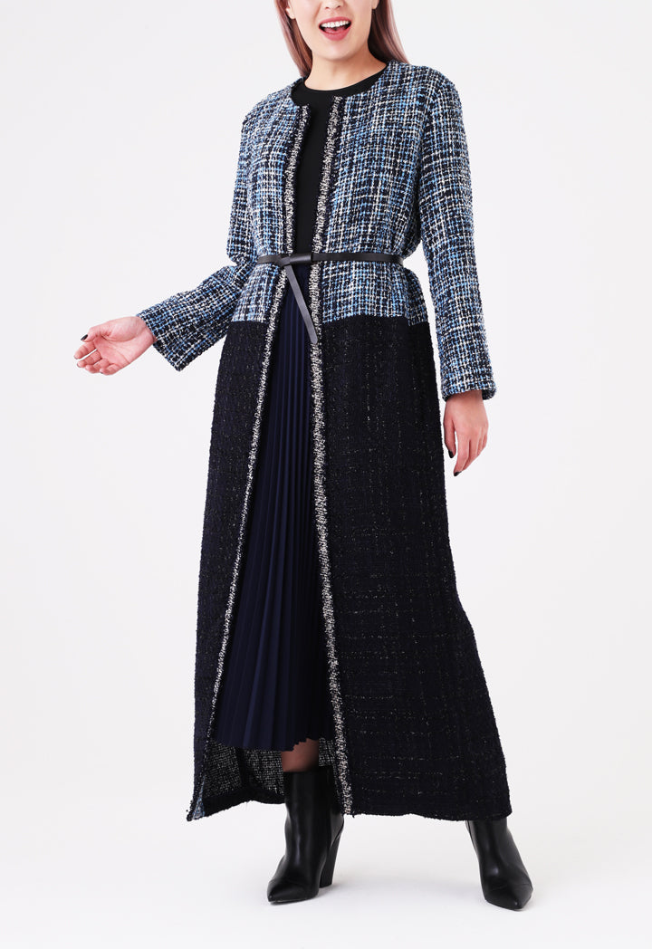 Choice Two Tone Maxi Tweed Outerwear Navy