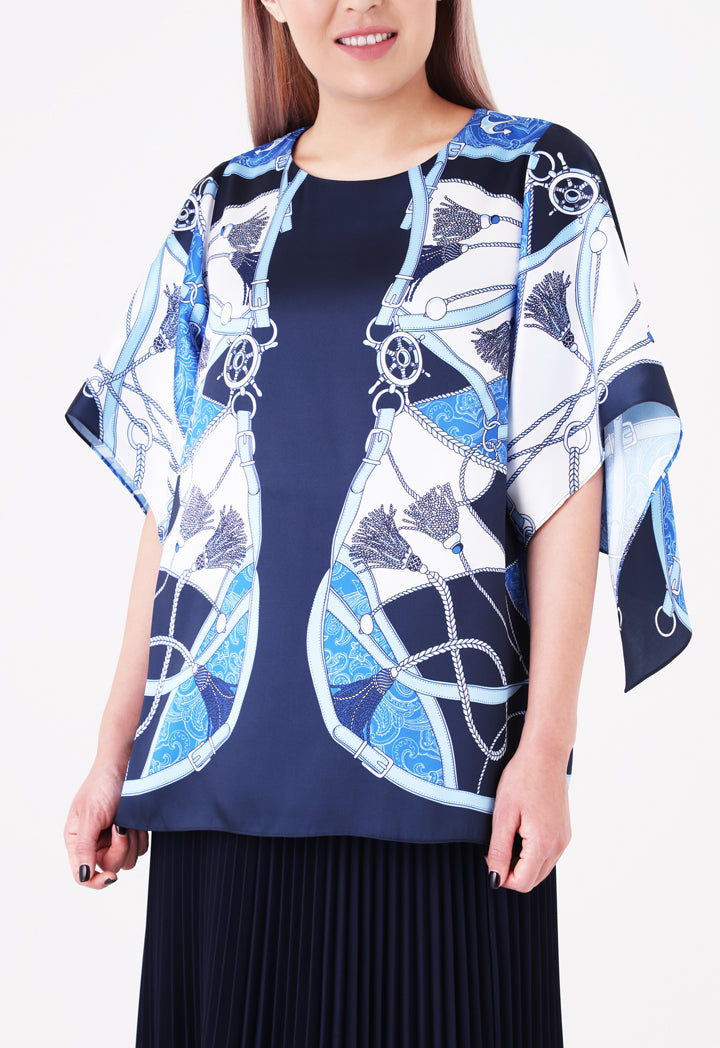 Choice Printed Butterfly Sleeve Blouse Navy