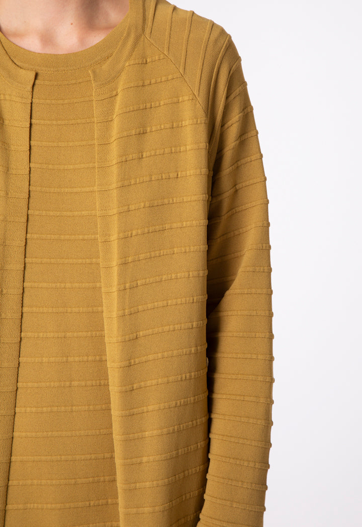 Choice Knitted Embossed Stripe Outerwear Olive