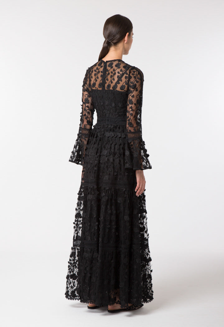 Choice Patterned Lace Trim Dress Black