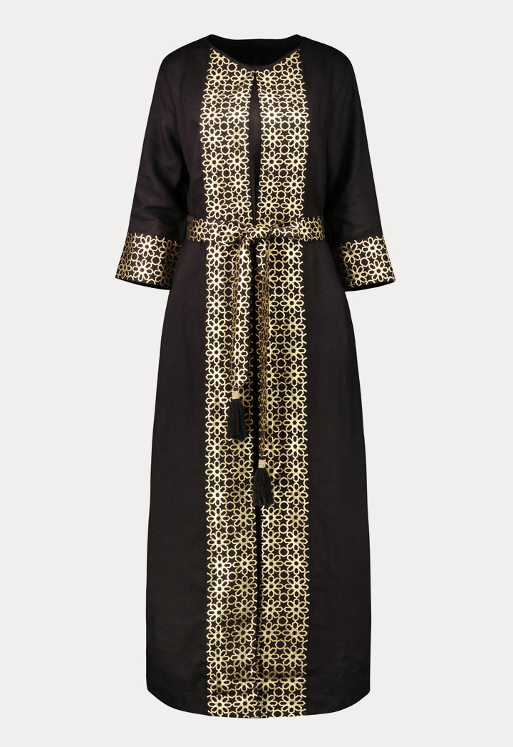 Choice Geometric Gold Print Abaya  Black - Wardrobe Fashion