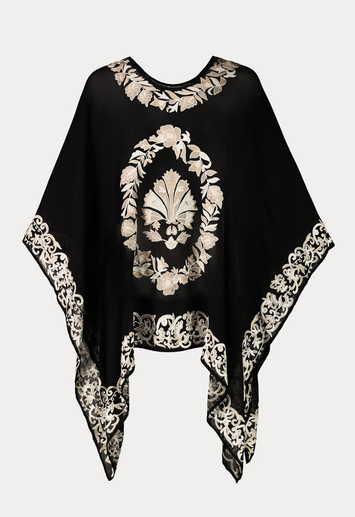 Choice Embroidered Sheer Kaftan Blouse Black - Wardrobe Fashion