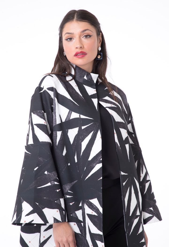 Choice Printed Neoprene Bell Sleeves Jacket Black + White Print