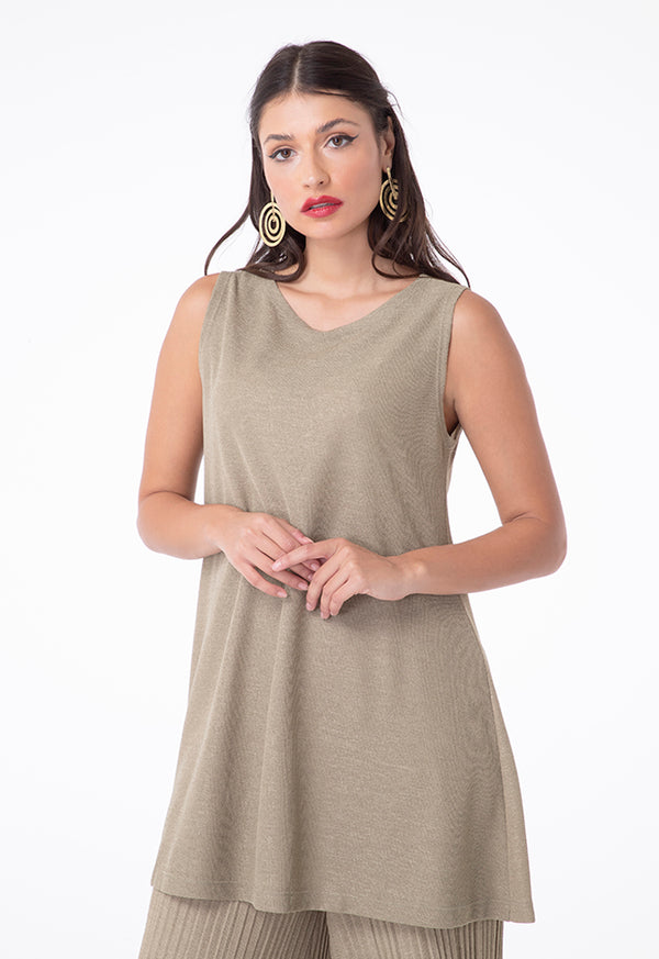 Choice Linen Jersey Sleeveless Blouse Khaki
