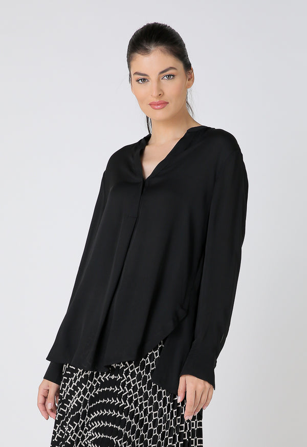 Choice Overlapping V-Neck Long Sleeves Shirt Black