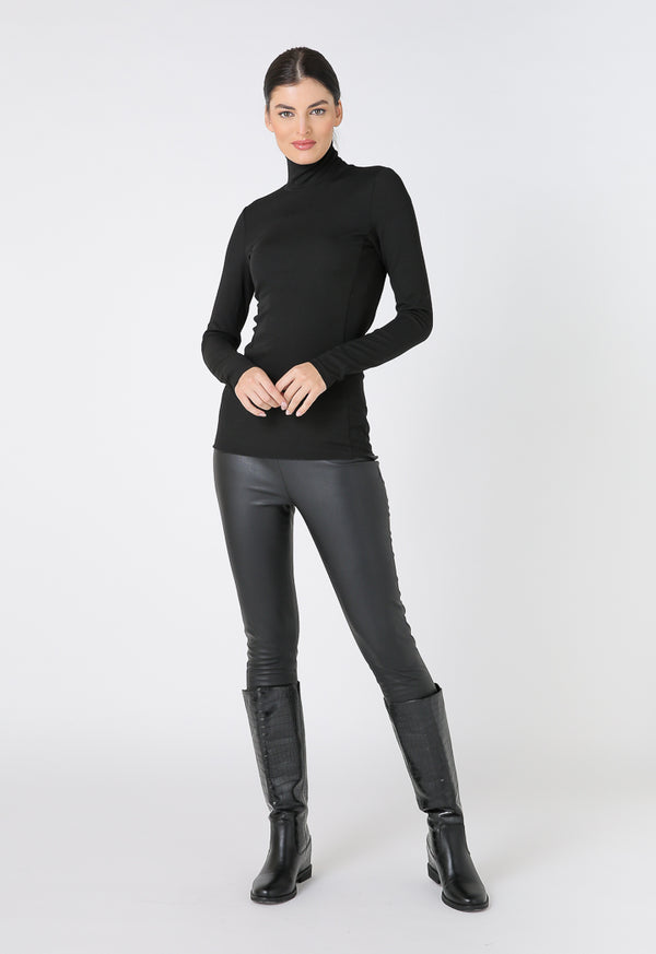 Choice High Waist Faux Leather Leggings Black