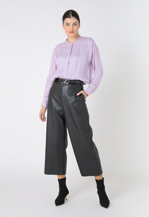 Choice Faux Leather Straight Wide Pants Black