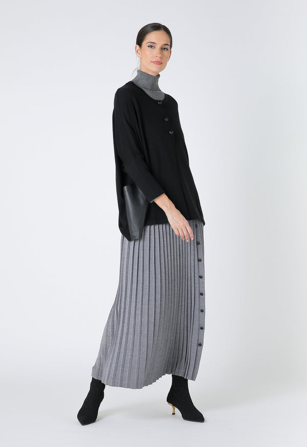 Choice Thick Ribbed Long Pleated Skirt Grey Melange