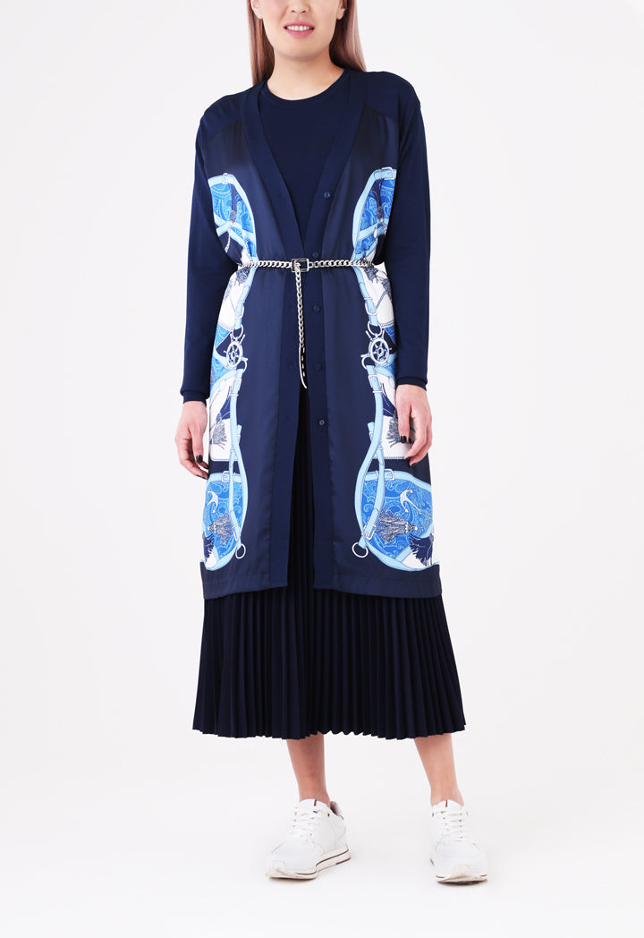 Choice Belt Tassel Print Outerwear Navy