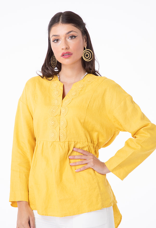 Choice Linen Lace Shirred Blouse Yellow