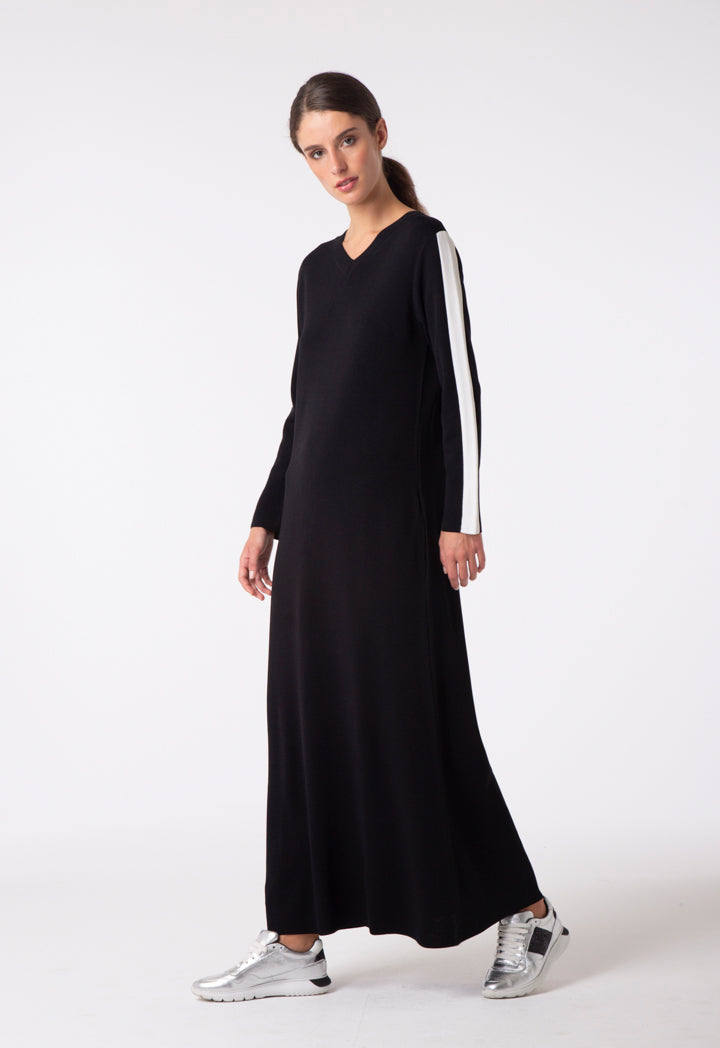 Choice Tape Sleeve Contrast Knitted Dress Black