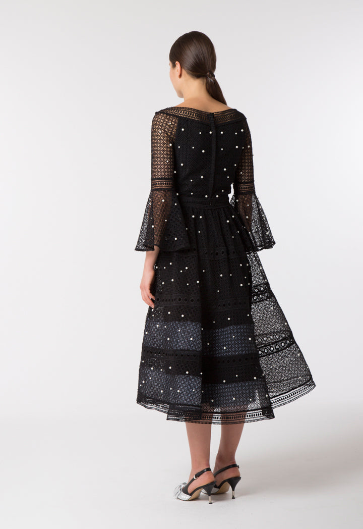 Choice Pearl Studded Schiffli Skirt Black