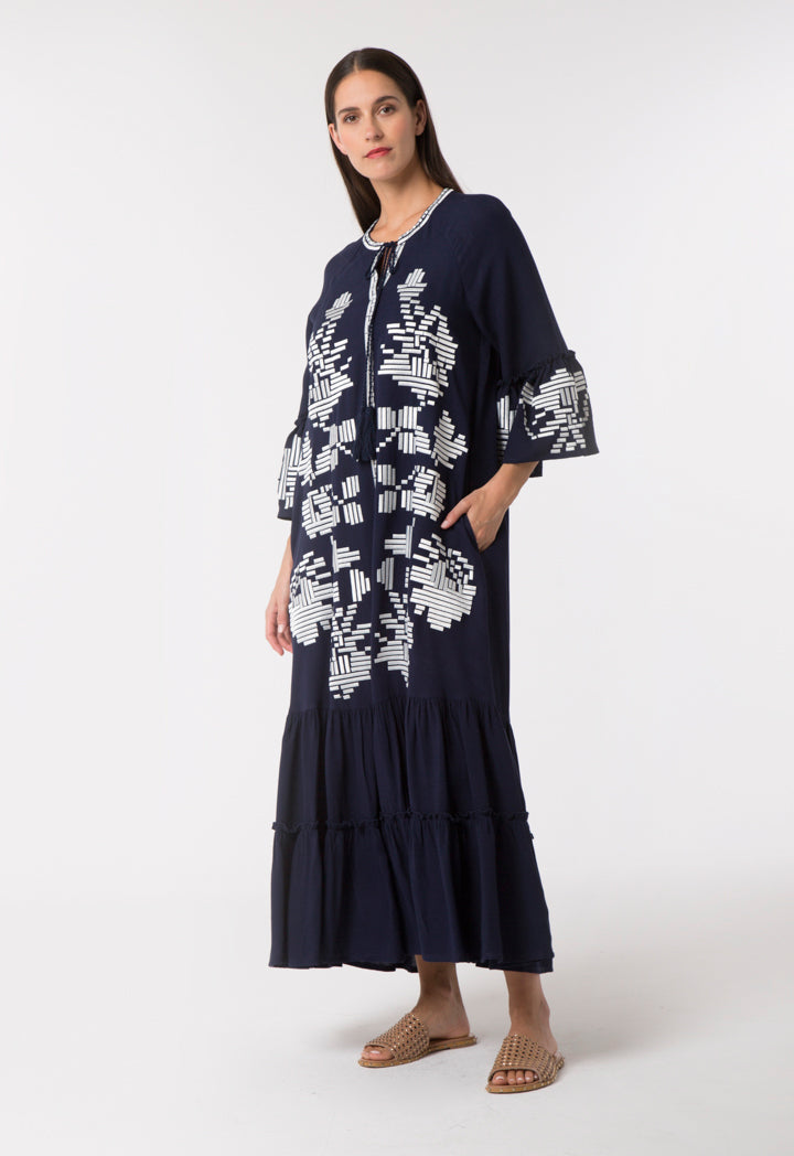 Choice Ethnic Embroidered Dress Navy